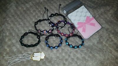 6 X Shamballa Braclets With Bags And Labels