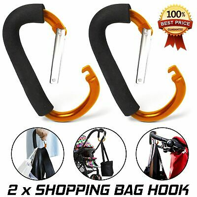 Buggy Clips x2 Large Pram Pushchair Shopping Bag Hook Mummy Carry Clip