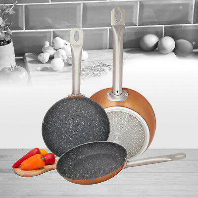 Set of 3 Induction Hob Non Stick Aluminium Copper Marble Coated Fry Pan Cook Set