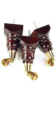 4X Replacement Castor Feet Mahogany With Brass Castors For Sofa Chairs Stools M8