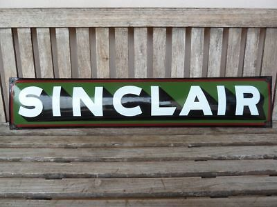 "old Sinclair , porcelain sign 39"" heavy convex gasoline oil gas dino advertising"