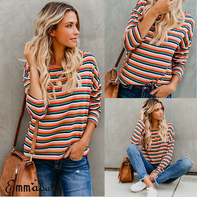 US Women'S Rainbow Long Sleeve Blouse Summer Casual Loose Tops T Shirt Pullover