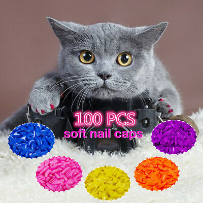 Cat Nail Caps Claw Small Size Soft 100Pcs & 5Pcs Adhesive Glue for Cats Paws US