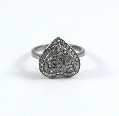 Pave Diamond 925 Sterling Silver Heart Design Love Ring Handmade Jewelry ST387