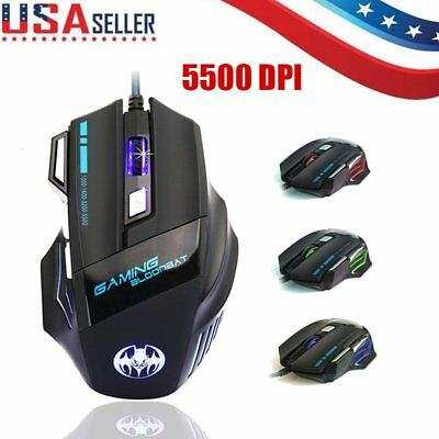 Adjustable DPI 5500 7 Button LED Optical USB Wired Gaming Mouse for Pro Gamer