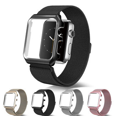 Fo Apple Watch Series 4 5 40/44m Stainless Steel Milanese Mesh Watch Band +Case