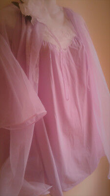 Vintage Nylon Peignoir and Nightgown Harvey Woods Canada SHORTIE tricot chiffon