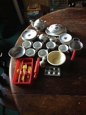 Vintage Children's China Tea Set And Other Items.
