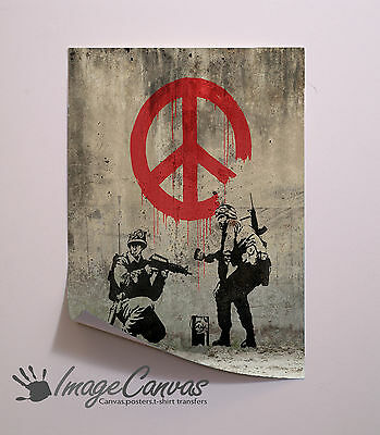 Banksy Soldiers Peace Sign Giant Wall Art Poster A0 A1 A2