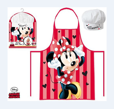 Girls Minnie Mouse 2 Piece Cook Baking Gift Chef Set Includes Apron And Hat
