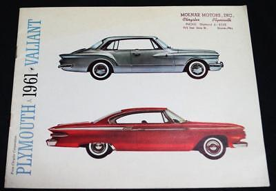 1961 Plymouth Valiant Automobile Car Advertising Sales Brochure Guide Vintage