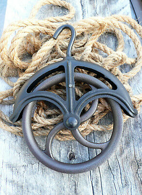 """Vintage Cast Iron 9"""" Wheel Well Pulley Primitive Old Factory"""