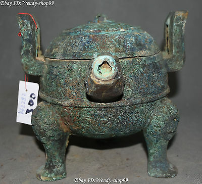 Chinese  Bronze Ware Ancient Beast 3 Foot Incense Burner Censer Incensory