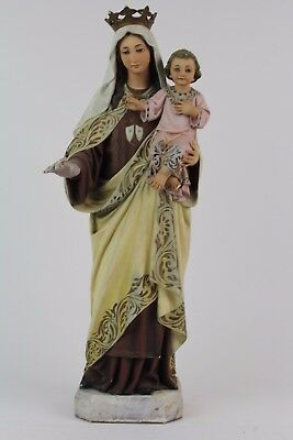 Image Of The Virgin Of Carmen In Polychrome Stucco. Principles S.xx.