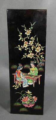 Antique Asian Japanese Geisha Chinese Playing Go Game Painted Lacquer Wall Panel