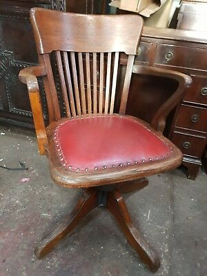 Antique Oak Captains Swivel Chair / Office Desk Chair.