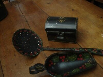 3 Pc Vintage Hand Painted Toleware Spoon, Scoop, Tin