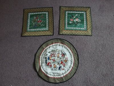 vintage Chinese hand silk embroidery mats pictures