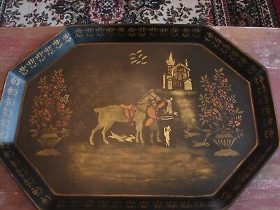 Beautiful Metal Toleware Large Tray Hunting Rabbits