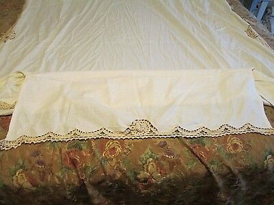 Vintage Bed Skirt Spread Crocheted Trim Ivory Twin