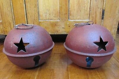 Two Large Vintage Style Metal Bells, Christmas, Country, Farm, Primitive