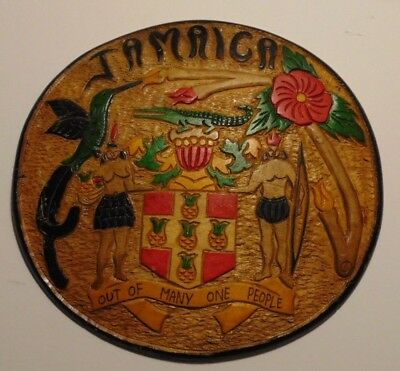 Vintage Hand Carved Wood Jamaica Coat of Arms Jamaicain