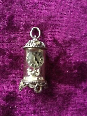 Vintage 925 Silver Charm Carriage Clock Some Stone Missing On Top