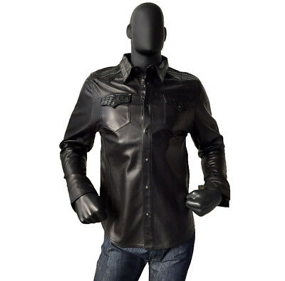 G-Gator Black Genuine Exotic Lamb Leather Shirt with Alligator Trimming Size 2XL