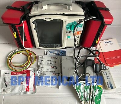 PHILIPS HeartStart MRx 3 Lead QCPR ECG Pacer M3535A POWER MODULE Cables Pads