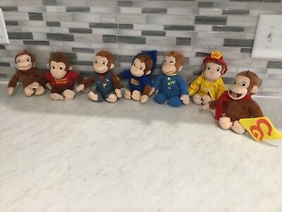 """Curious George Life Plushies (7) All 8 1/2"""" High Plush,great Rare Collection"""