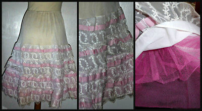 Vintage 50S Frothy Netted Embroidered Full Petticoat Slip 10 12 14 Rockabilly