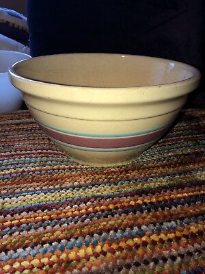 "Vintage McCoy Ovenware 10"" Usa Pink Blue Creamware Mixing Bowl Large"