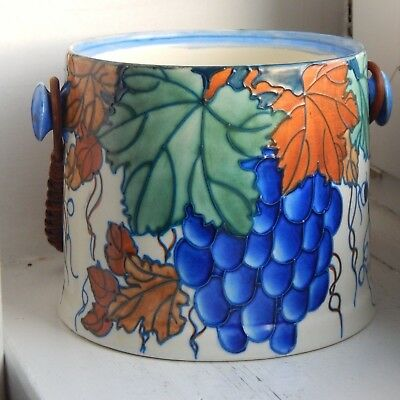 Superb large pottery biscuit barrel by Bursley Ware -probably Charlotte Rheade