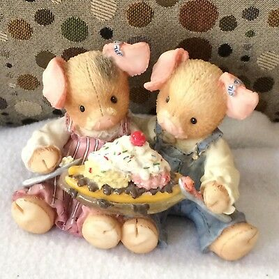 """Vtg Enesco This Little Piggy """"LOVE IS PIGGIN OUT WITH YOU""""  Share a Banana Split"""