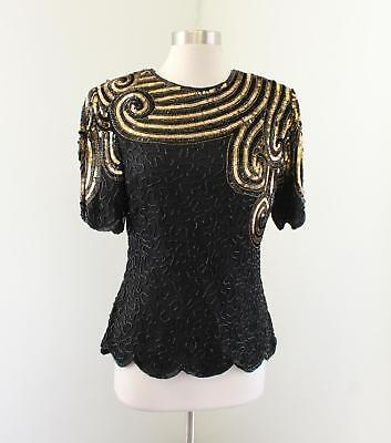 ff4ea1b6f80f1 Vtg Stenay Black Bronze Gold Silk Beaded Sequin Evening Top Blouse Size M