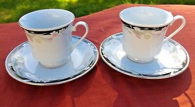Crown Ming Fine China Tea Cups and Saucers (2)