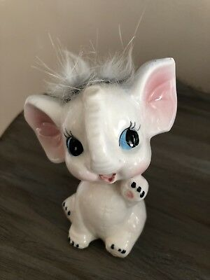 Lefton? Vintage White Elephant With Hair Tuft
