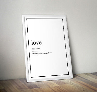 Love Definition Print, Home Decor, Minimalist Poster, Wall Art, Poster gift