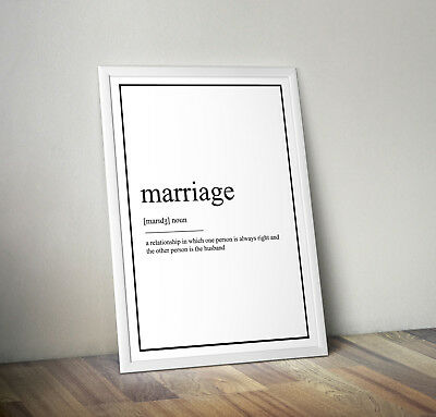 marriage Definition Print, Home Decor, Minimalist Poster, Wall Art, Poster gift