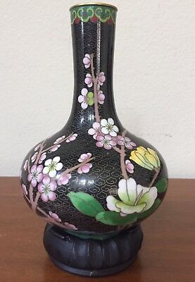 Beautiful Black Cloisonné Vase Cherry Blossom Flowers Blue Bird EXCELLENT