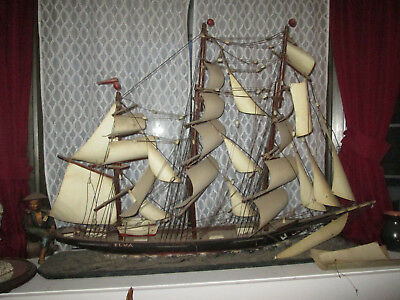 "Antique Huge ""Elva"" Clipper? Schooner? Carved Wood w/ Metal Sails Ship"
