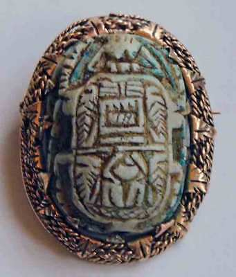 Superp Antique Victorian Egyptian Revival 14K Scarab Brooch Pin Pendant C Clasp