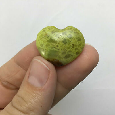 Polished Green Apple Pistachio Puffed Heart 181105-22mm Mineral Mineraloid