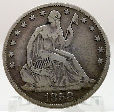 1858-O United States seated Liberty silver half dollar, #66678