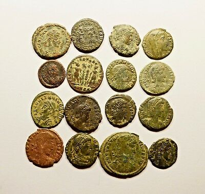 Lot Of 16 Imperial Roman Bronze Coins For Identifying - 056