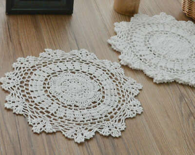"""Set 6 White 12"""" Round Crochet Lace Doilies Wedding Lot Table Runners"""