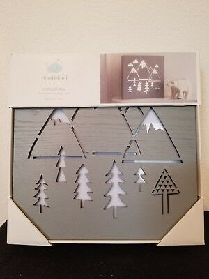 LED Light Box Mountains Trees Nature Forest Gray-  Cloud Island