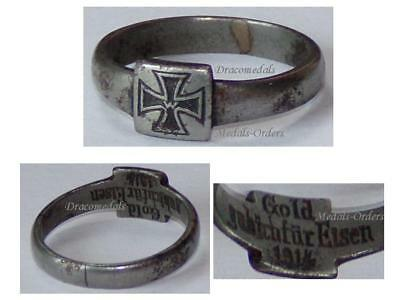 GErmany WWI Ring Patriotic I Gave Gold for Iron Cross EK1 1914 Trench Art German