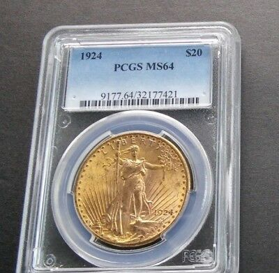 1924 $20 PCGS MS64 Gold  Double Eagle Saint freshly graded example