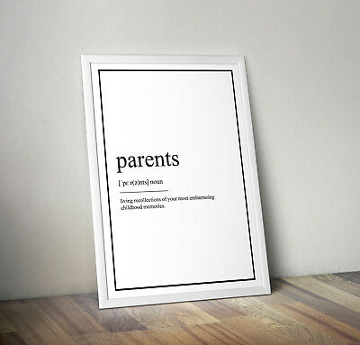 Parents Definition Print, Home Decor, Minimalist Poster, Wall Art, Poster gift